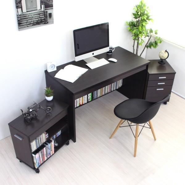 パソコンデスク システムデスク 3点セット 110cm幅 チェスト ラック J-Supply Ltd.(ジェイサプライ)期間限定|homestyle|02