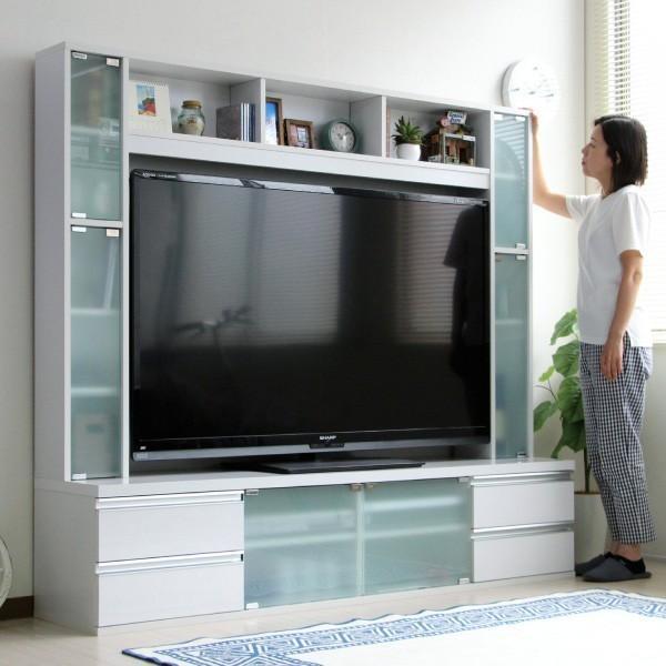 テレビ台 ハイタイプ 鏡面 60インチ TV台 テレビラック ゲート型AVボード ホワイト|homestyle|02