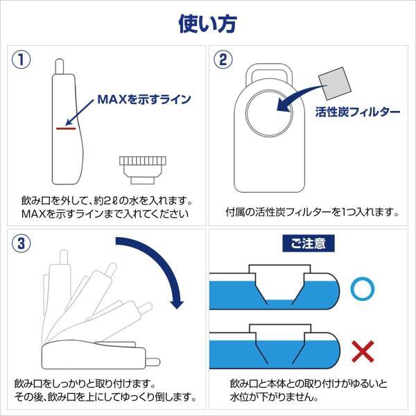 ブリングウォーター 2 ブルー 給水器 水入れ 活性炭フィルター付き 新タイプ 取っ手付き 日本製 大気圧 2L MADE IN JAPAN|homeyayafutenn|04