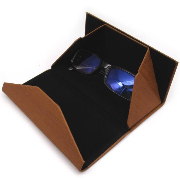三角 折りたたみ メガネ ケース シンプル 収納 便利 コンパクト (木目調 ブラウン)|homeyayafutenn|03