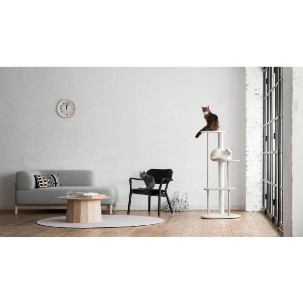 KARIMOKU CAT TREE カリモク家具 日本製 子猫から高齢猫まで対応 綿縄の爪とぎ 高さ124cm 据え置き (ライトグレー&ピュアオーク|homeyayafutenn|02