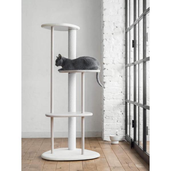 KARIMOKU CAT TREE カリモク家具 日本製 子猫から高齢猫まで対応 綿縄の爪とぎ 高さ124cm 据え置き (ライトグレー&ピュアオーク|homeyayafutenn|03