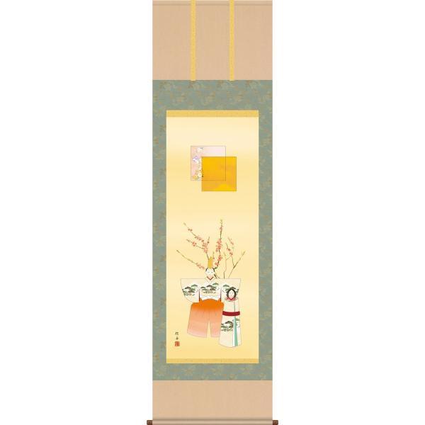 掛け軸-立雛/長江 桂舟[尺五 桐箱 風鎮 和室 床の間 節句画 桃 雛祭り お雛様 女の子 モダン オシャレ 壁掛け 安い 贈物 ギフト 飾る]