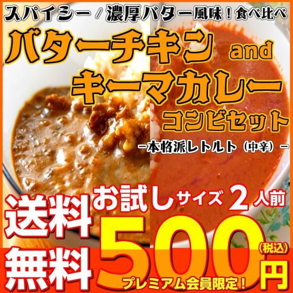 カレー キーマ&バターチキン レトルトカレー 会員価格500円 ガラムマサラ 濃厚バター 2人前セット お取り寄せ メール便商品 お試しグルメギフト