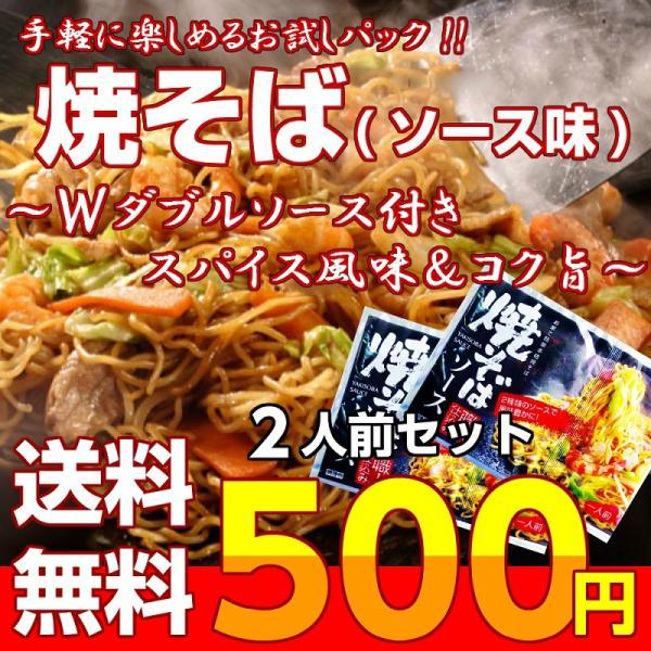 ポイント消化 500円 九州焼きそば ソース味 Wダブルスープ 2人前 濃厚ソース スパイス 九州ストレート麺 メール便商品 お試しグルメギフト