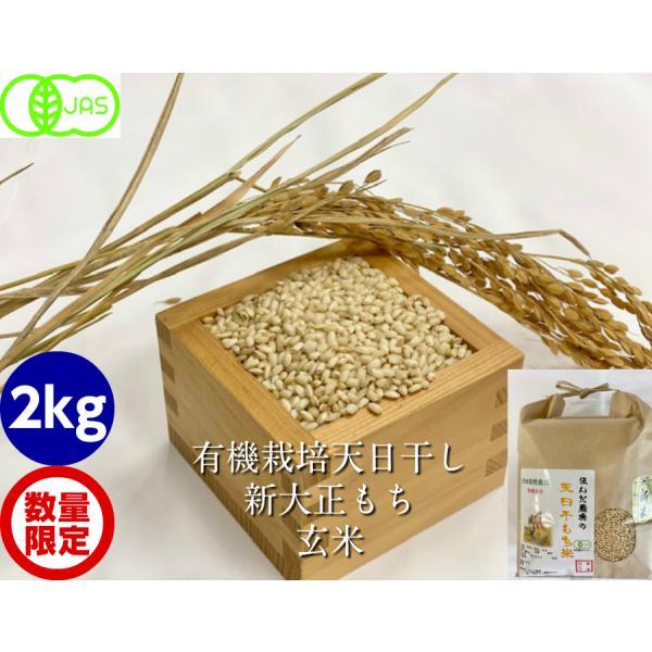 令和2年産 有機栽培 天日干し 新大正モチ(糯)玄米 2kg