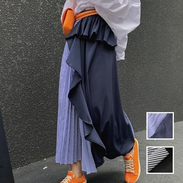 韓国 ファッション レディース スカート ボトムス 春 秋 冬 カジュアル ラッフル アシンメトリー ぺプラム プリーツ naloG986 20代 30代 40代