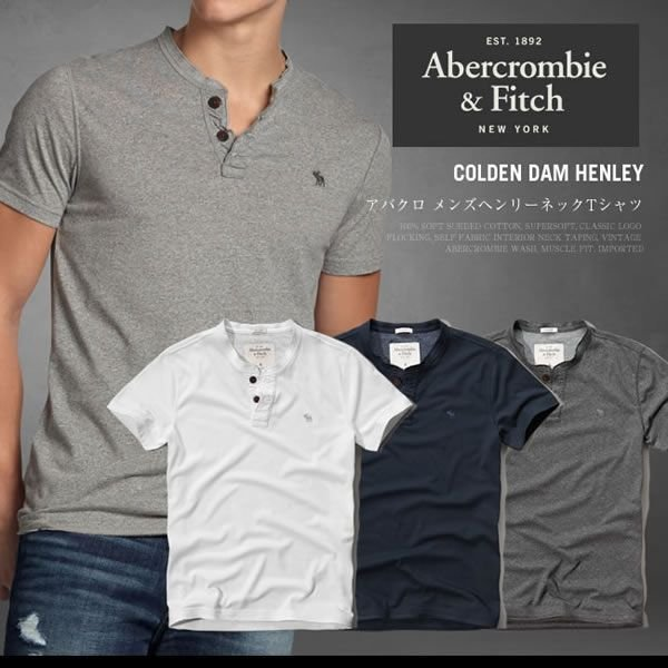 アバクロ Tシャツ アバクロンビー&フィッチ Abercrombie&Fitch ヘンリーネック Tシャツ メンズ 半袖 M-1154 正規品 本物保証 honeyflavor