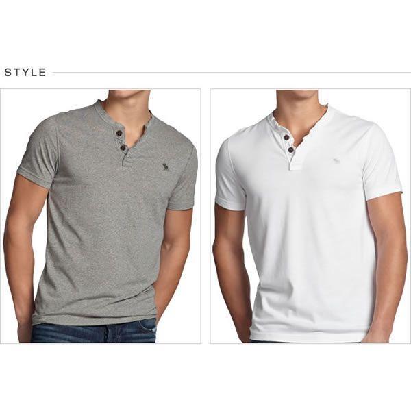 アバクロ Tシャツ アバクロンビー&フィッチ Abercrombie&Fitch ヘンリーネック Tシャツ メンズ 半袖 M-1154 正規品 本物保証 honeyflavor 02