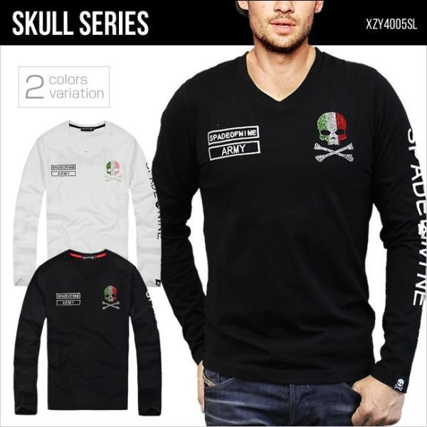 ロングTシャツ 長袖 メンズ Vネック Tシャツ スカル ドクロ ラインストーン イタリア SKULL XZY4005SL