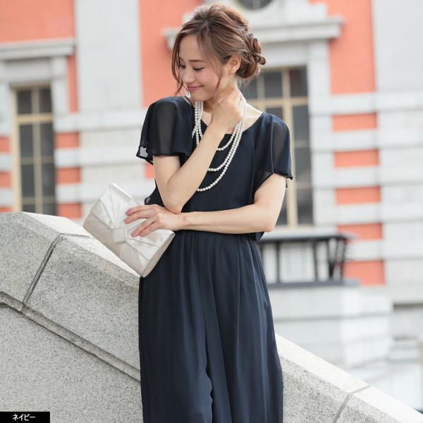 パーティードレス パンツドレス パンツスタイル 20代 30代 結婚式 ネイビー ベージュ ブラック M L LL 3L 大きいサイズ 送料無料|hongkongmadam|14