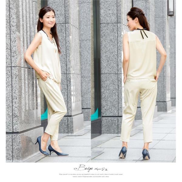 パーティードレス パンツドレス パンツスタイル 結婚式 グレー ネイビー ベージュ ブラック M L 大きいサイズ 送料無料|hongkongmadam|06