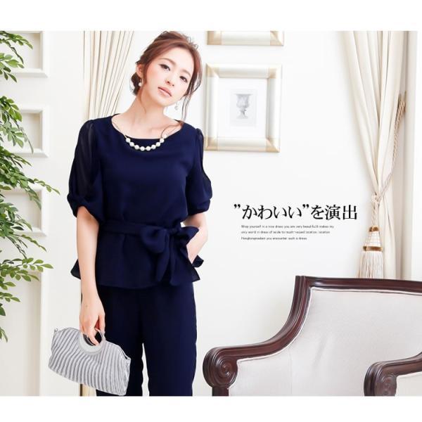 パーティードレス パンツドレス パンツスタイル セットアップ 20代 30代 結婚式 M L LL 3L ネイビー ベージュ ブラック 大きいサイズ 送料無料|hongkongmadam|02
