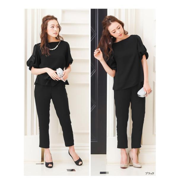 パーティードレス パンツドレス パンツスタイル セットアップ 20代 30代 結婚式 M L LL 3L ネイビー ベージュ ブラック 大きいサイズ 送料無料|hongkongmadam|11