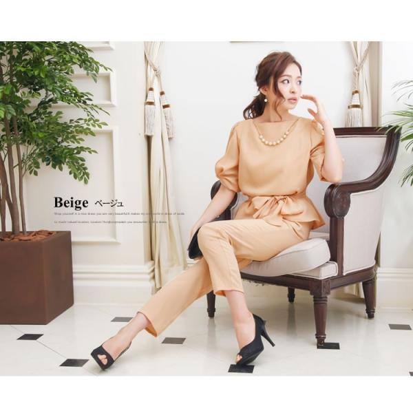 パーティードレス パンツドレス パンツスタイル セットアップ 20代 30代 結婚式 M L LL 3L ネイビー ベージュ ブラック 大きいサイズ 送料無料|hongkongmadam|13