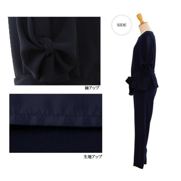 パーティードレス パンツドレス パンツスタイル セットアップ 20代 30代 結婚式 M L LL 3L ネイビー ベージュ ブラック 大きいサイズ 送料無料|hongkongmadam|18
