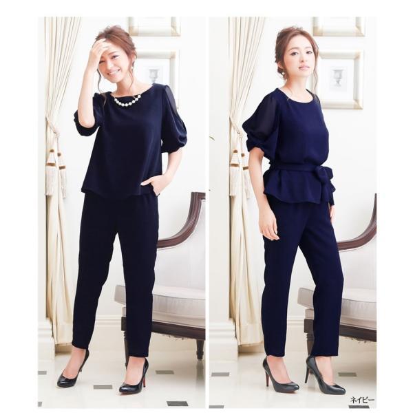 パーティードレス パンツドレス パンツスタイル セットアップ 20代 30代 結婚式 M L LL 3L ネイビー ベージュ ブラック 大きいサイズ 送料無料|hongkongmadam|09