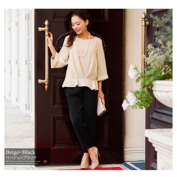パーティードレス パンツドレス パンツスタイル 20代 30代 結婚式 ネイビー ブラック ベージュ×ブラック M/L/LL/XL 大きいサイズ|hongkongmadam|11