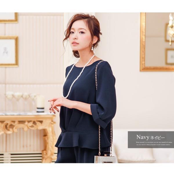 パーティードレス パンツドレス パンツスタイル 20代 30代 結婚式 ネイビー ブラック ベージュ×ブラック M/L/LL/XL 大きいサイズ|hongkongmadam|13