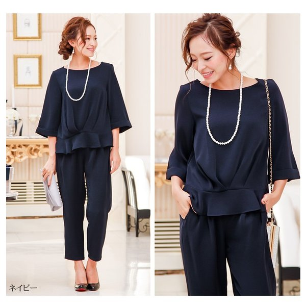 パーティードレス パンツドレス パンツスタイル 20代 30代 結婚式 ネイビー ブラック ベージュ×ブラック M/L/LL/XL 大きいサイズ|hongkongmadam|14