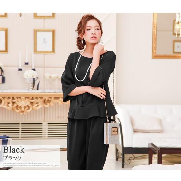 パーティードレス パンツドレス パンツスタイル 20代 30代 結婚式 ネイビー ブラック ベージュ×ブラック M/L/LL/XL 大きいサイズ|hongkongmadam|15