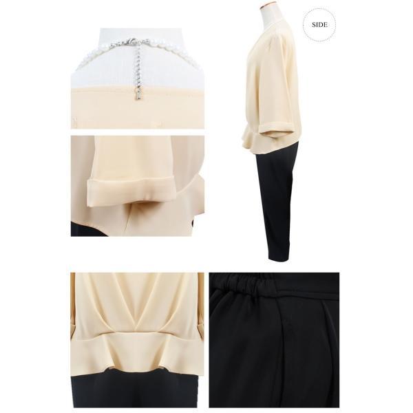 パーティードレス パンツドレス パンツスタイル 20代 30代 結婚式 ネイビー ブラック ベージュ×ブラック M/L/LL/XL 大きいサイズ|hongkongmadam|19
