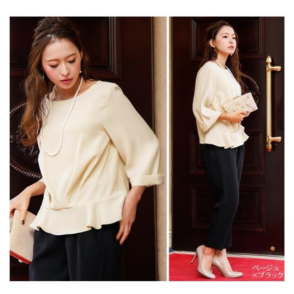 パーティードレス パンツドレス パンツスタイル 20代 30代 結婚式 ネイビー ブラック ベージュ×ブラック M/L/LL/XL 大きいサイズ|hongkongmadam|10