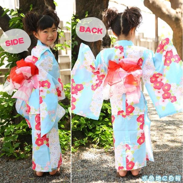 浴衣 子供 女の子 帯 浴衣 2点セット レトロ キッズ 浴衣|hongkongmadam|12
