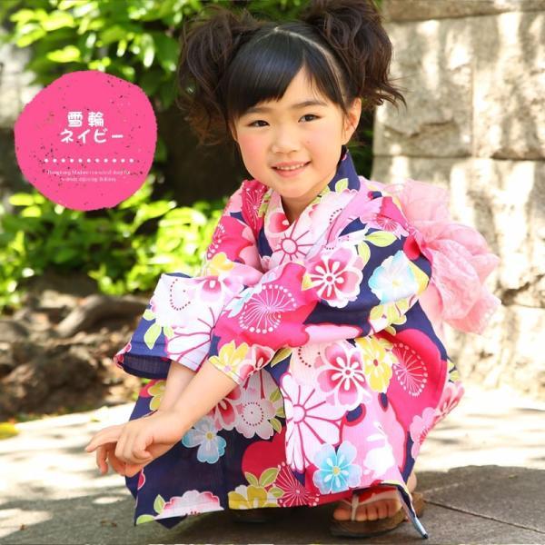 浴衣 子供 女の子 帯 浴衣 2点セット レトロ キッズ 浴衣|hongkongmadam|17