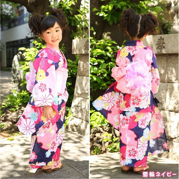 浴衣 子供 女の子 帯 浴衣 2点セット レトロ キッズ 浴衣|hongkongmadam|18