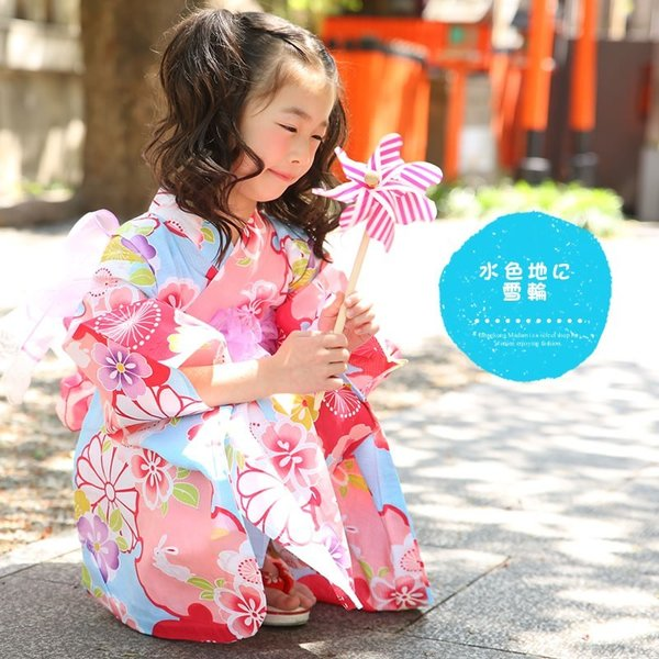 浴衣 子供 女の子 帯 浴衣 2点セット レトロ キッズ 浴衣|hongkongmadam|19