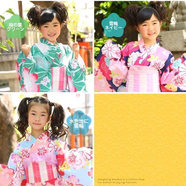 浴衣 子供 女の子 帯 浴衣 2点セット レトロ キッズ 浴衣|hongkongmadam|03