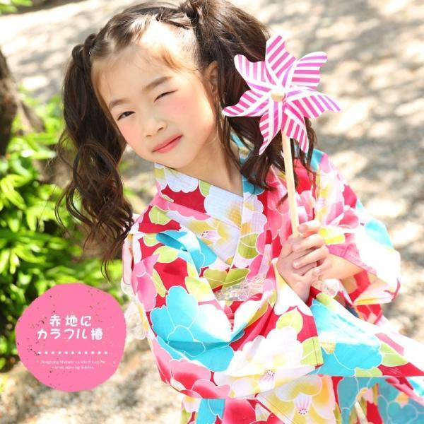 浴衣 子供 女の子 帯 浴衣 2点セット レトロ キッズ 浴衣|hongkongmadam|07