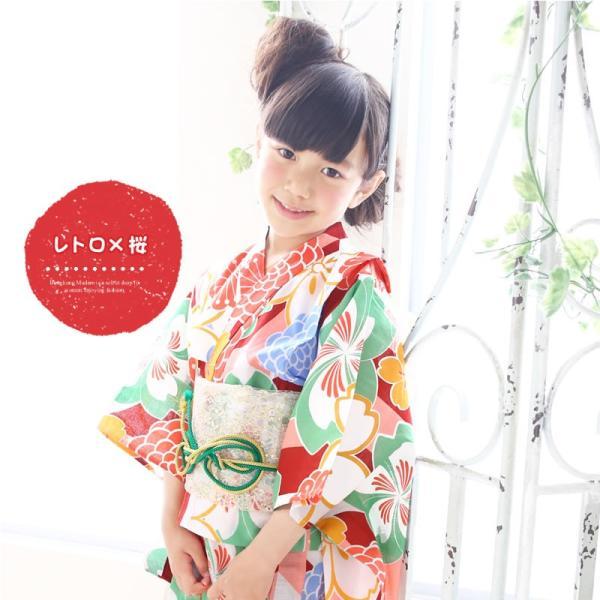 浴衣 子供 女の子 古典柄 レトロ キッズ 浴衣|hongkongmadam|05