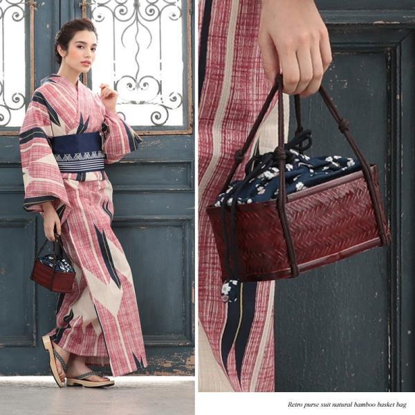 レトロなかごバッグで浴衣姿をランクUP レトロ巾着天然竹カゴバッグ(d5591)和装バック 浴衣 バック 女性 レディースィース|hongkongmadam|03