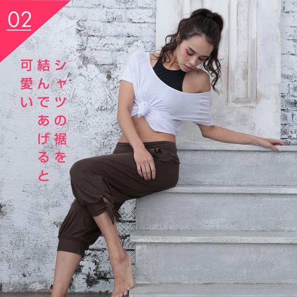 ヨガウェア レディーズ トップス 半袖 Tシャツ S M L ホワイト ブラック|hongkongmadam|06