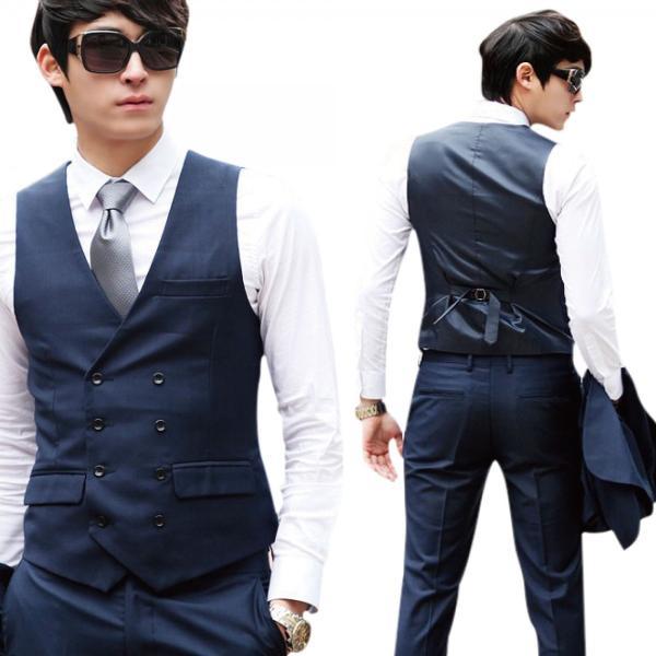 a9a99d696e44f ... メンズ ベスト ジレ フォーマル ビジネス スーツ ダブル ボタン 紳士 結婚式 ダンディー ネクタイ e431|honobono ...