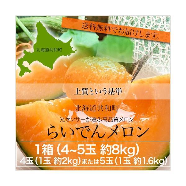 北海道らいでんメロン(赤肉)約8kg (4玉=1玉あたり約2kg または 5玉=1玉あたり約1.6kg  共撰 優品以上