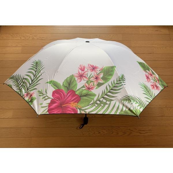 ハワイアン折りたたみ傘晴雨兼用ハイビスカスホワイト