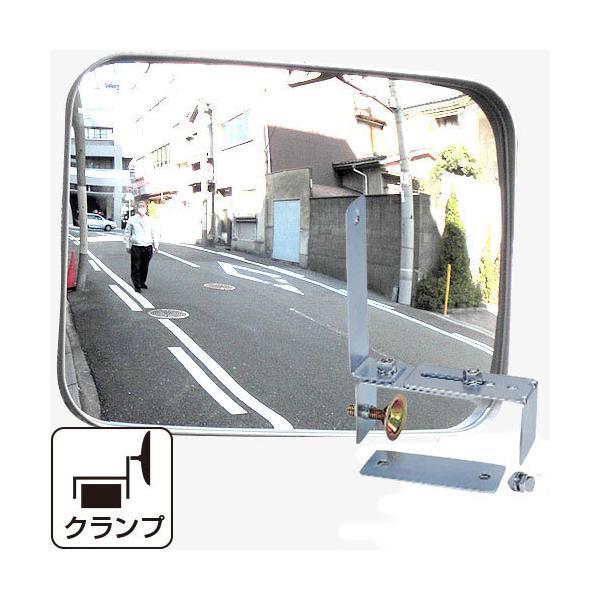 -丈夫でしっかりクランプ-カーブミラーガレージミラー角型はさみ込み式HP-角35クランプグレー日本製カーブミラー