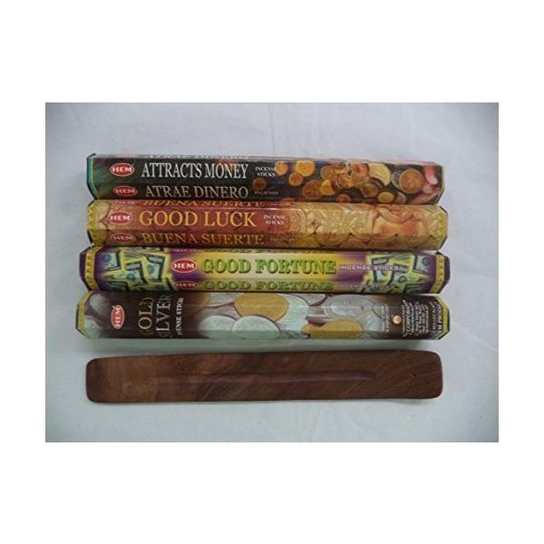 Hemお香スティックattracts money 購入 good luck + fortuneゴールドシルバー= Sticks オリジナル 80