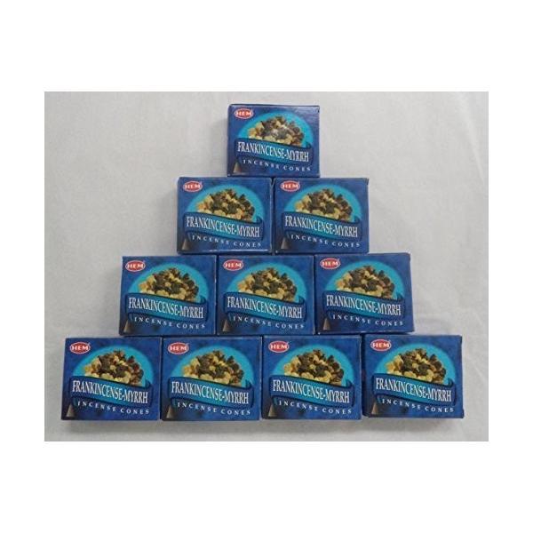 HEM Incense Cones: Frankincense and Myrrh - Packs 販売期間 限定のお得なタイムセール 直送商品 by of = Cones 100 10
