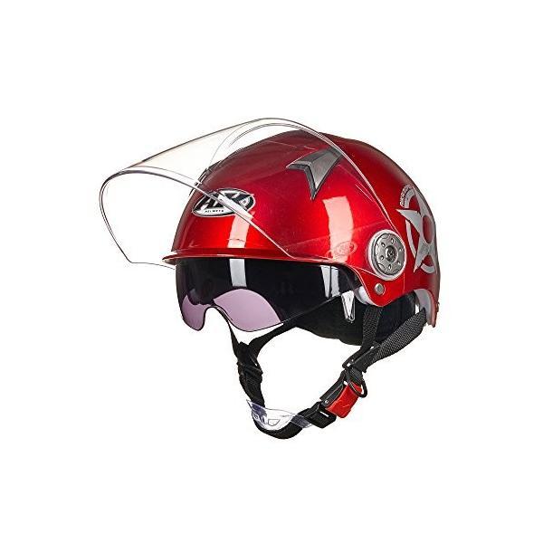 X.N.S 希望 AK-631 《週末限定タイムセール》 超安い 夏用大人気 新型 半帽 レッド ヘルメット 二重レンズバイクヘルメット
