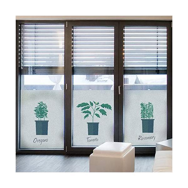 LJJL 出荷 ガラスステッカー 静電曇りガラスフィルム 新生活 ウィンドウフィルム 小さな新鮮な植物ガラスドアや窓のステッカープライバシー不透明な窓のステッカー