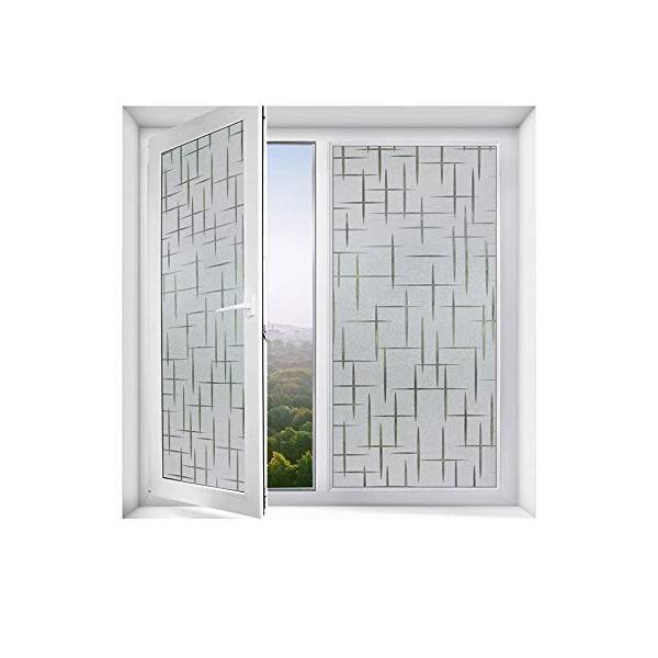DEWUFAFA 曇り窓フィルム非粘着静的くっつき不透明プライバシーガラスフィルムホームキッチンオフィス用抗UV十字パターン 贈物 優先配送 : Size