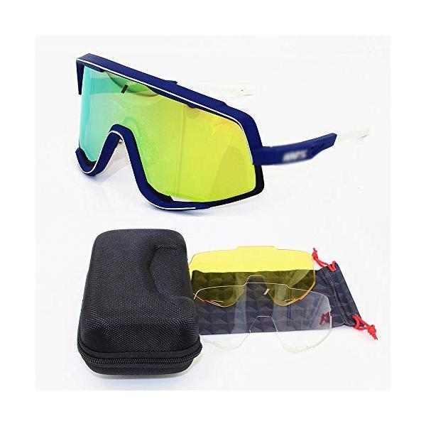 Makecny 5%OFF まとめ買い特価 サイクリングサングラス軽量サイクリングスポーツラップアイウェア男性 女性 色 Blue gold :