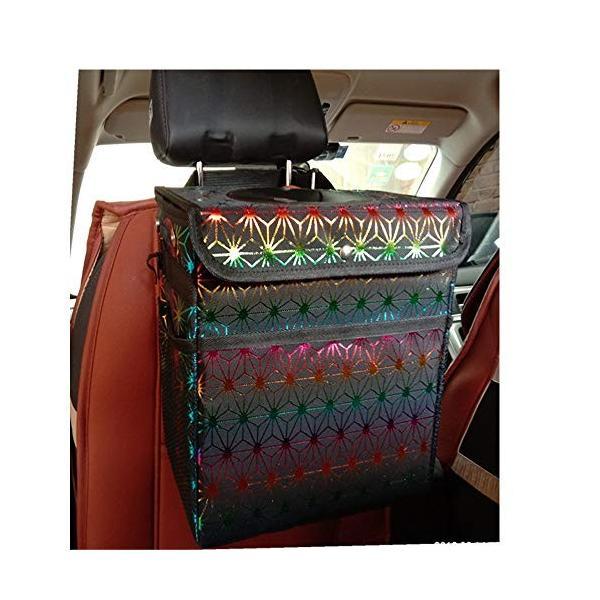 車のゴミ箱 ブランド買うならブランドオフ 蓋とサイドオックスフォード10Lの車のゴミをポケット付き折り畳み式防水ごみ袋 毎日続々入荷 車のゴミ袋をぶら下げ 色 : サイズ マルチカラー,