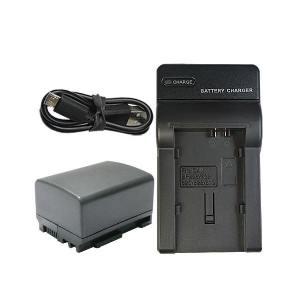 充電器セット キャノン(Canon) BP-808D 互換バッテリー + 充電器(USB)(BP-808 / BP-819 / BP-827)