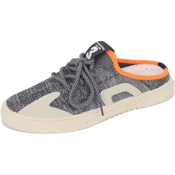 かかとなし スニーカー サボサンダル オシャレ メッシュ スリッポン シューズ 靴 メンズ 24.5 cm(ブラック, 24.5 cm)