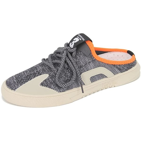 かかとなし スニーカー サボサンダル オシャレ メッシュ スリッポン シューズ 靴 メンズ 25.5 cm(ブラック, 25.5 cm)